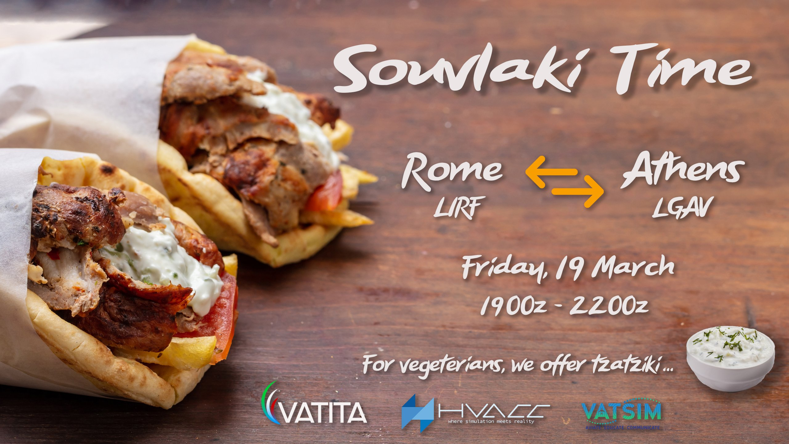Souvlaki Time! Rome-Athens City Link | Friday 19 March| 21:00 - 24:00 local